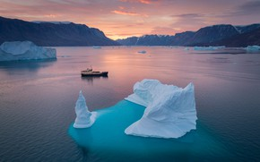 Picture landscape, mountains, nature, ship, ice, icebergs, the fjord, Greenland, Скорсби