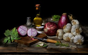 Picture greens, oil, food, bow, knife, black background, still life, items, composition, spices, garlic, bottle, cutting …