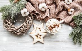 Picture winter, snow, decoration, Christmas, mug, New year, new year, Christmas, vintage, winter, snow, sweater, cocoa, …
