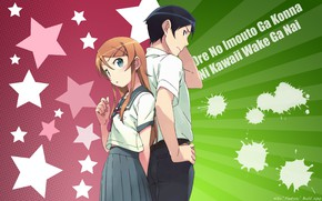 Picture girl, anime, art, guy, two, Oreimo