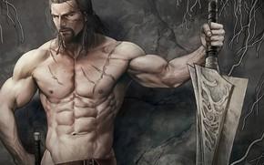 Picture sword, male, torso