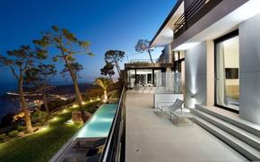 Picture the city, lights, France, Villa, the evening, pool, lighting, France, Côte d'Azur, Bayview Villa