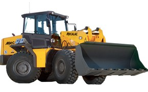 Picture yellow, white background, bucket, loader, AS 210e, Mecalac