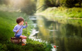 Picture river, fishing, boy