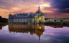 Picture pond, reflection, France, Oise, Chantilly castle