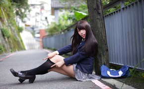 Picture look, girl, form, schoolgirl, legs, Asian