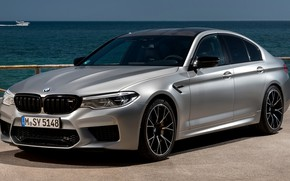 Picture water, grey, BMW, horizon, boat, Parking, sedan, 4x4, 2018, four-door, M5, V8, F90, M5 Competition