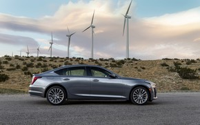 Picture grey, Cadillac, sedan, side view, four-door, 2020, CT5