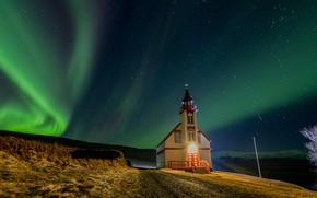Picture Northern lights, Church, Iceland, Iceland, starry sky, Fljótshlíð