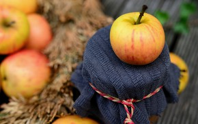 Picture apples, Bank, bokeh, jam