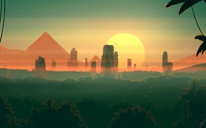 Picture Sunset, The sun, Mountains, Figure, Mountain, Forest, Morning, Dawn, Fantasy, Landscape, Art, Art, Landscape, Sun, …