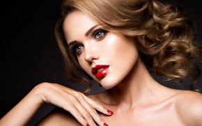 Picture look, girl, face, portrait, makeup, curls, Korabkova