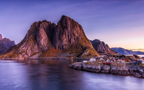 Picture landscape, mountains, nature, rocks, the evening, Norway, houses, twilight, pond, Bank, lilac sky, The Lofoten …