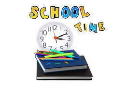 Picture time, the inscription, watch, books, pencils, white background, school, bokeh, clip, study, line