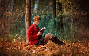 Picture autumn, leaves, trees, nature, pose, Park, mood, model, boots, makeup, dress, jacket, hairstyle, book, legs, …