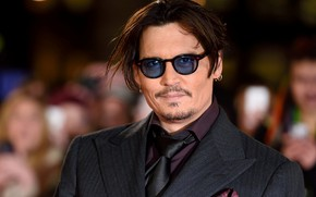 Picture smile, glasses, Johnny Depp, actor