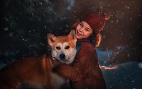 Picture snow, smile, dog, girl, friends, cap, Shiba inu, Оксана Пипкина