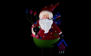 Picture holiday, toy, new year, Christmas, doll, black background, Santa Claus, Santa Claus, Santa, toy