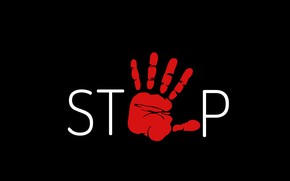 Picture red, background, black, hand, minimalism, stop, the word, stop