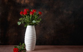 Picture table, roses, bouquet, red, white, vase, buds