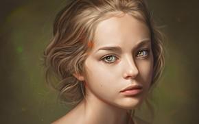 Picture face, sponge, neck, art, moles, brown hair, portrait of a girl, Loy Baldon, looking into …