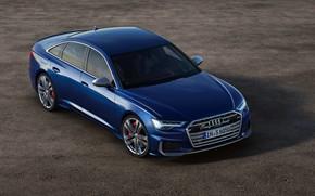 Picture asphalt, blue, background, Audi, sedan, Audi A6, 2019, Audi S6