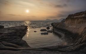 Picture sea, sunset, shore, Cabo de las Huertas, Alicante