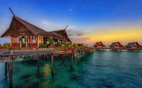 Picture China, sea, sunset, flowers, cafe, bungalow, Hainan