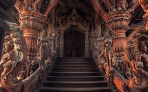 Picture beauty, statues, entrance, sculpture, greatness, Pattaya, degree, дрвнее строение, Храм истины, архитектура древних