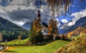 Picture forest, the sun, Austria, Church, Obernberg am Brenner, Tribulaune
