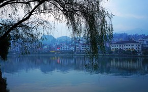 Picture the sky, trees, landscape, mountains, branches, river, blue, home, morning, Vietnam, promenade, Lao Cai