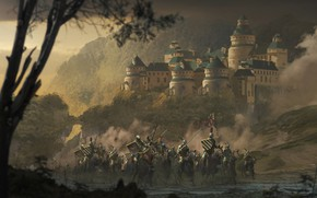 Wallpaper forest, weapons, armor, Castle, flag, warrior, rider, knight