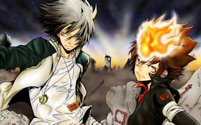 Picture anime, art, guys, Katekyo Hitman Reborn, Teacher mafia Reborn, Gokudera Hayato, Tsuyoshi Sawada
