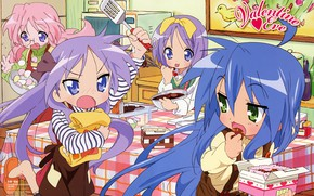 Picture sweets, fun, friend, in the kitchen, blue hair, cooking, Kagami Hiiragi, Lucky Star, Tsukasa Hiiragi, …