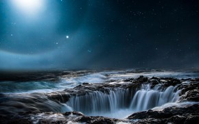 Picture sea, the sky, space, stars, light, night, nature, stones, waterfall, abyss, night, funnel, star