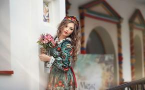 Picture look, girl, flowers, pose, model, dress, beautiful, Anastasia Grosheva