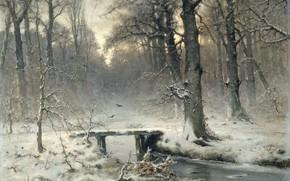 Picture winter, forest, snow, landscape, stream, oil, picture, the bridge, canvas, 1875, Louis Apol, On a …