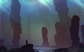 Picture Figure, Rocks, The world, Silhouette, Landscape, Art, Fiction, Landscapes, Digital Art, TacoSauceNinja, by TacoSauceNinja, Under …