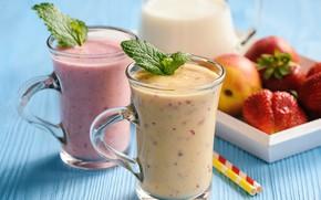 Picture berries, Breakfast, fruit, vitamins, smoothies with yogurt