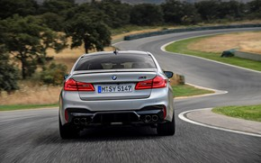 Picture grey, track, BMW, sedan, rear view, 4x4, 2018, four-door, M5, V8, F90, M5 Competition