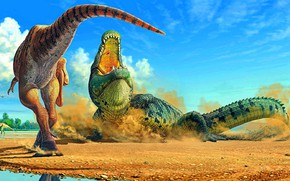 Picture Teeth, Mouth, Crocodile, Two, Raptors, Predators, Dinosaurs, Древние животные, Вымершие животные, Доисторические, Аллигатороидный крокодил, Dinosaurus, …