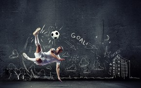 Picture photo, The ball, Sport, Jump, Football, Male