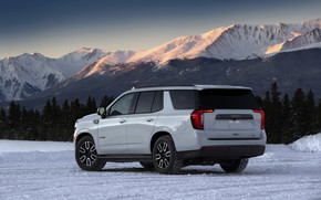 Picture GMC, SUV, Yukon, AT4, 2020, 2021, mountains in the background