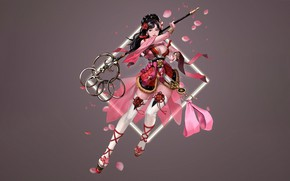 Picture Girl, Fantasy, Art, Style, Cherry Blossoms, Illustration, Dress, Figure, Character, Staff, Jeong Chan Jo