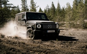 Picture forest, earth, black, Mercedes-Benz, SUV, 4x4, 2018, G-Class, V8