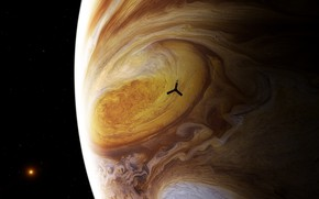 Picture the sun, space, stars, planet, satellite, Jupiter, Juno, probe, spacecraft