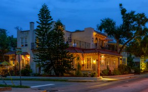 Picture road, trees, lights, street, home, the evening, FL, USA, the sidewalk, Saint Augustine Beach