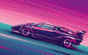 Picture Auto, Music, Lamborghini, Machine, Style, Background, Car, Music, 80s, Style, Supercar, Neon, Turbo, Countach, Illustration, …