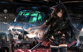 Picture girl, weapons, helicopter