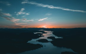 Picture Sunset, The sky, Nature, River, Landscape, River